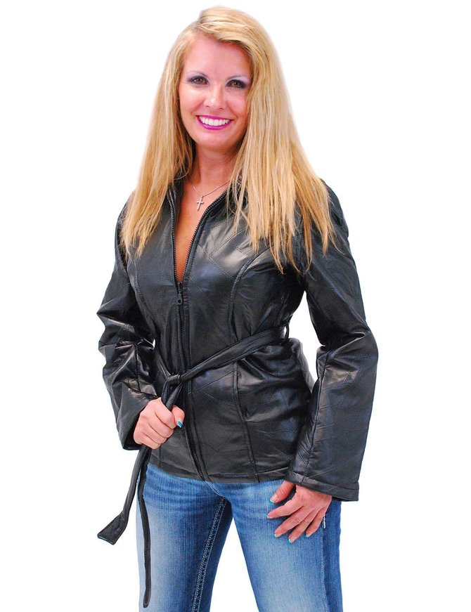 Women's Belted Leather Parka Special #L5055PBTK