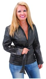 Women's Belted Leather Parka Special #L5055PBTK