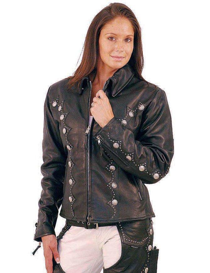 Jamin Leather Western Leather Jacket w/Conchos & Studs #L5076SZK
