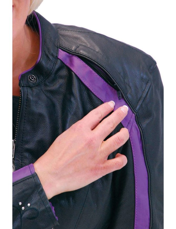 Purple Wings Leather Motorcycle Jacket for Women #L5208PUR