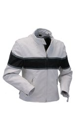Unik White Classic Scooter Leather Jacket w/Wide Black Stripe #L5590ZKW (S-2X)