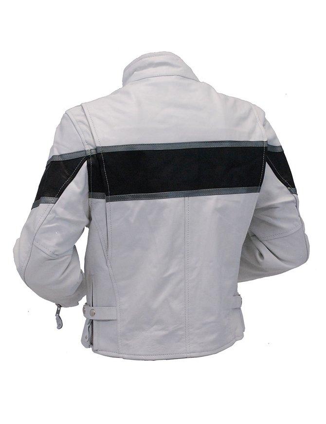 Unik White Classic Scooter Leather Jacket w/Wide Black Stripe #L5590ZKW