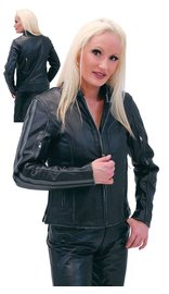 Women's Vintage Gray Vented Cafe Racer Jacket #L597ZGY