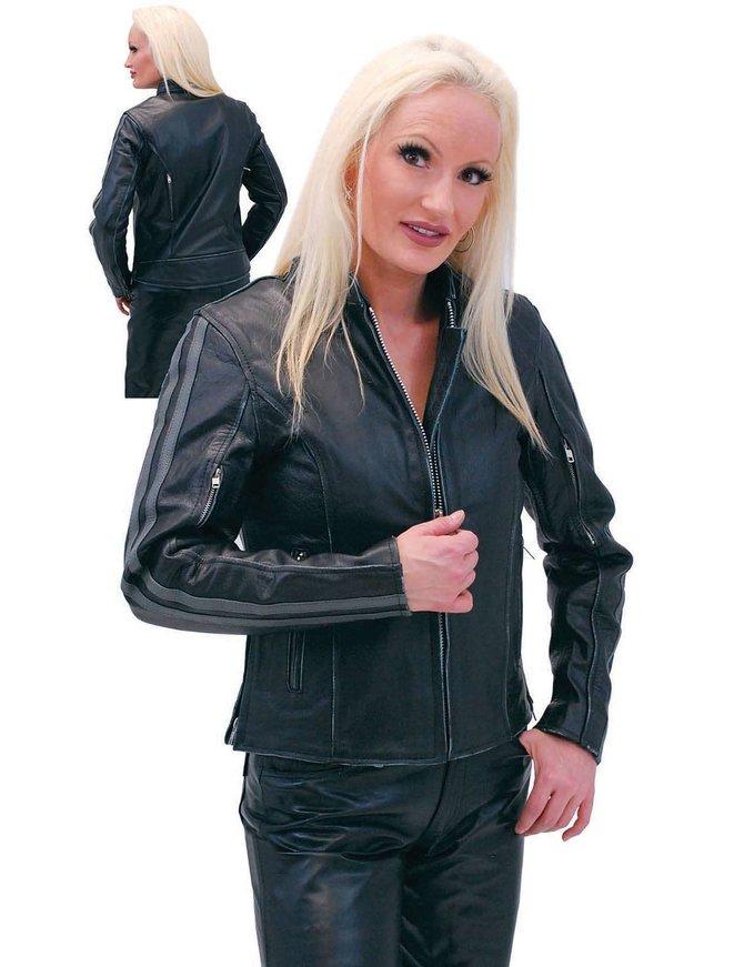 Women's Vintage Gray Vented Cafe Racer Jacket #L597ZGY