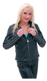 Women's Vintage Gray Vented Cafe Racer Jacket #L597ZGY (S-2X)