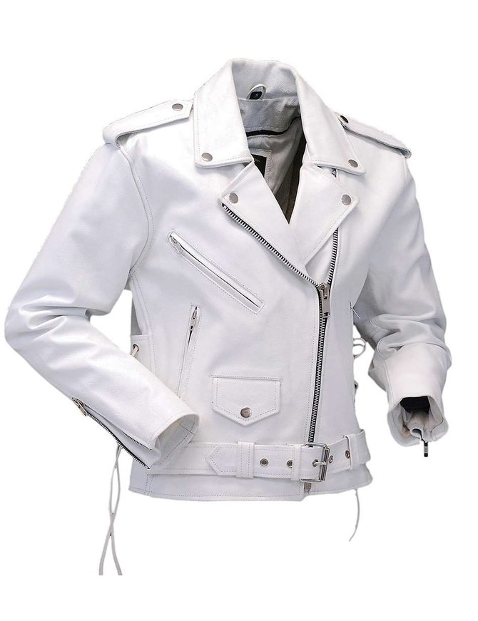Jamin Leather White Leather Motorcycle Jacket w/Side Lace #L6027LW