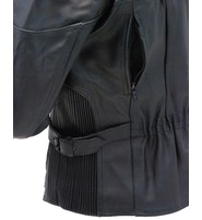 Women's Wide Stripe Vented Leather Motorcycle Jacket - Special #L602VZSP