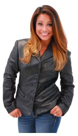 5 Button New Zealand Lambskin Tailored Leather Blazer #L6040BTK