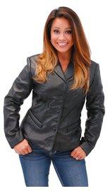 5 Button New Zealand Lambskin Tailored Leather Blazer #L6040BTK (S-L)