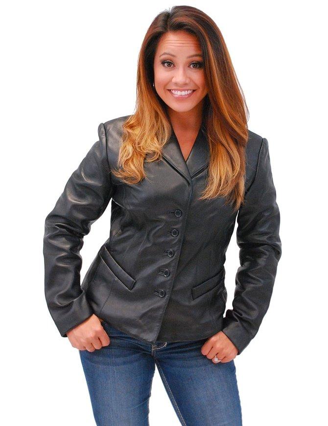 5 Button New Zealand Lambskin Tailored Leather Blazer #L6040BTK