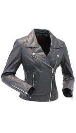Women's Soft Lambskin Leather Motorcycle Jacket #L606MCLK (S-3X)