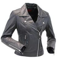 Women's Soft Lambskin Leather Motorcycle Jacket #L606MCLK