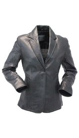 Single Button Long Lambskin Leather Blazer #L6080BTK (S-L)