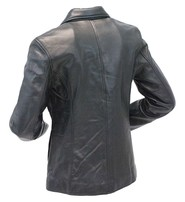 Single Button Long Lambskin Leather Blazer #L6080BTK