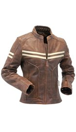 Women's Brown Vintage Double Stripe Leather Racer Jacket #L608ZTN