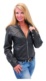 Women's Lightweight Leather Jacket #L6121K (M-2X)