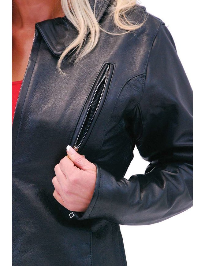 Jamin Leather Long Body Women's Motorcycle Jacket w/Vents #L6167VZK
