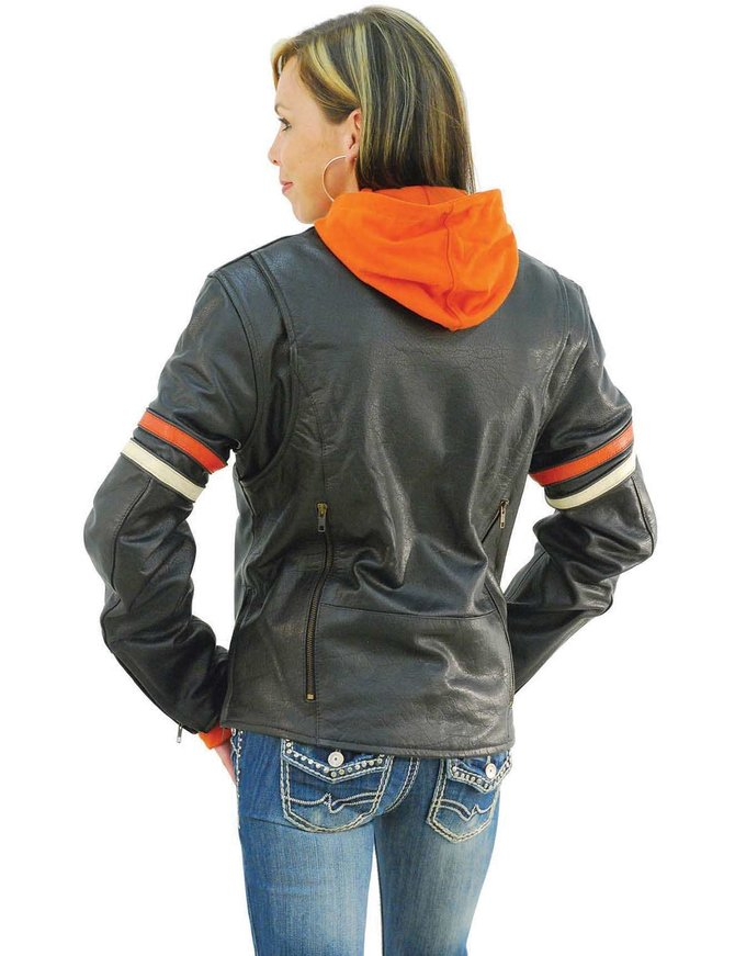 Unik Orange Stripe Vented Motorcycle Jacket w/Hoodie #L6554HZO