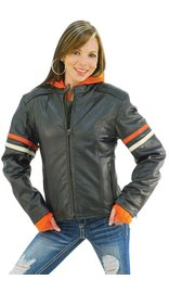 Unik Orange Stripe Vented Motorcycle Jacket w/Hoodie #L6554HZO (S-3X)
