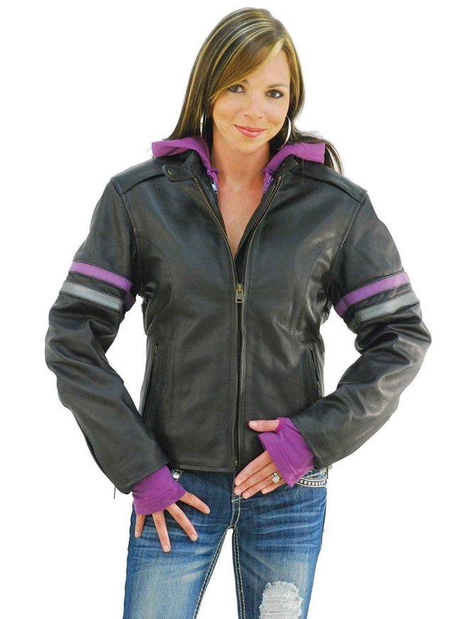 Unik Purple Stripe Vented Motorcycle Jacket w/Hoodie #L6554HZPU