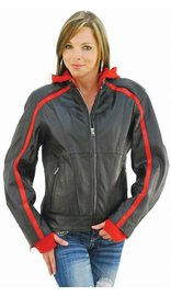 Unik Red Vented Stripe Motorcycle Jacket w/Hoodie #L655500HZR