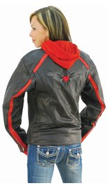 Unik Red Vented Stripe Motorcycle Jacket w/Hoodie #L655500HZR (S-XL)