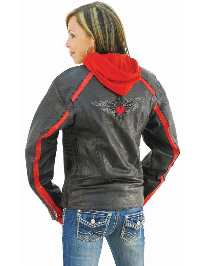 Unik Red Vented Stripe Motorcycle Jacket w/Hoodie #L655500HZR