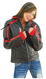Unik Red Vented Stripe Motorcycle Jacket w/Hoodie #L655500HZR (S-5X)