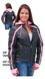 Unik Pink Vented Stripe Motorcycle Jacket w/Hoodie #L655522HZP