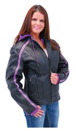 Unik Purple Vented Stripe Motorcycle Jacket w/Hoodie #L6555HZPU