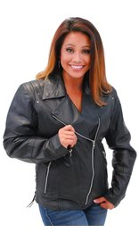Jamin Leather Riveted Women's Black Leather Lambskin MC Jacket #L657LRZK (S-2X)