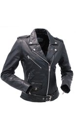 Unik Women's Soft Lambskin Leather Motorcycle Jacket with Belt #L6832MCK