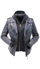 Unik Women's Vented Motorcycle Jacket with Removable Hoodie #L6841HK