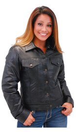 Jamin Leather Women's Lightweight Soft Lambskin Leather Jean Jacket w/Zip Out #L71BTZK