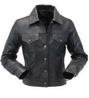 Jamin Leather Women's Lightweight Soft Lambskin Leather Jean Jacket w/Zip Out #L71BTZK
