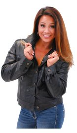 Jamin Leather Women's Lightweight Soft Lambskin Leather Jean Jacket w/Zip Out #L71BTZK (S-2X)
