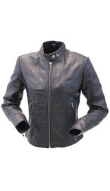 Daniel Smart Lightweight Women's Lambskin Scooter Motorcycle Jacket #L843LK (S-2X)