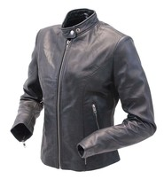 Daniel Smart Lightweight Women's Lambskin Scooter Motorcycle Jacket #L843LK