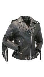 Jamin Leather Ladies Stud & Fringe Leather Jacket #L9028ZSFK