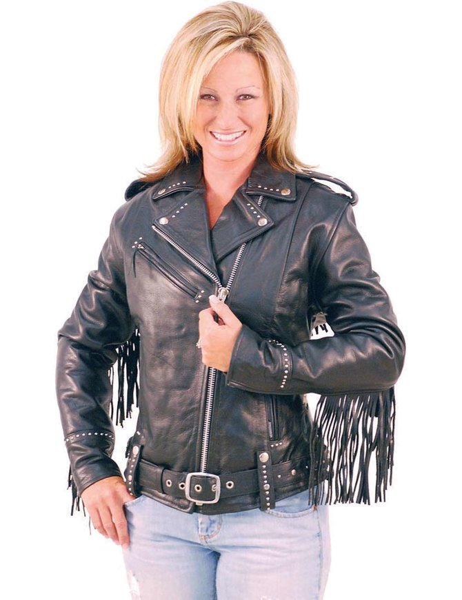Jamin Leather Ladies Stud & Fringe Leather Jacket #L9028ZSFK