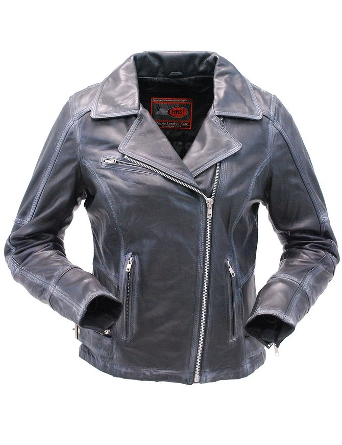 First MFG Women's Vintage Black Leather Motorcycle Jacket with Venting #LA186ZK