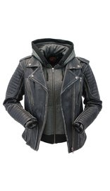 Milwaukee Women's Vintage Vented CCW Motorcycle Jacket with Hoodie #LA2516VHK