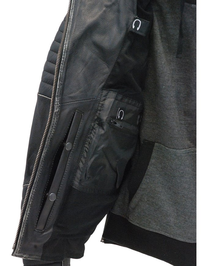 Women's Vintage Vented CCW Motorcycle Jacket with Hoodie #LA2516VHK