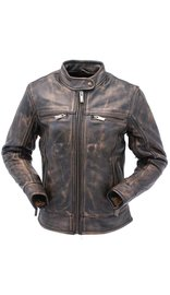 Milwaukee Women's Vintage Brown Leather Motorcycle Scooter Jacket w/CCW Pockets #LA2550VZDN