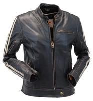Unik Women's Vintage Brown w/Tan Stripe Vented Racer Jacket #LA581VZN
