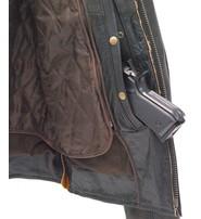 Unik Men's Quilt Panel Vented Vintage Brown Racer Jacket w/CCW Pockets #MA6634VZN