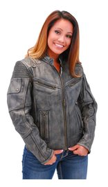 Jamin Leather Women's Ultimate Vintage Vented Racer Jacket w/CCW Pockets #LA68331VGY (XS-5X)