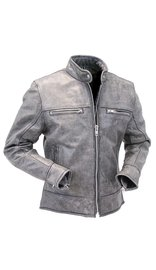 Jamin Leather Women's Hand Painted Vintage Gray Vented Scooter Jacket w/Zip Out #LA805VZGGY