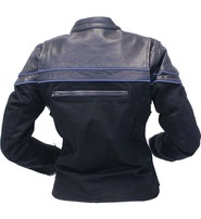 Jamin Leather Vented Denim & Leather Motorcycle Scooter Jacket for Women #LC162VZ