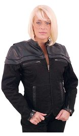 Jamin Leather Vented Denim & Leather Motorcycle Scooter Jacket for Women #LC162VZ (3X-5X)